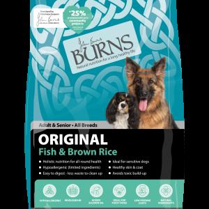 burns dog food fish