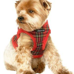 red tartan dog harness